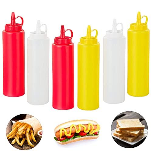JAHEMU Bottiglia Squeeze di Plastica con Tappi 250ML Bottiglia di Salsa Condimento Dispenser per Ketchup, Senape, Mayo, Salse piccanti, Olio d'oliva- 6Pcs (Giallo, Rosso, Trasparente)