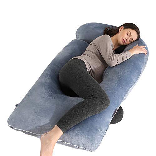 Almohada de embarazo Wndy's Dream de 55 pulgadas, almohada de maternidad para mujeres embarazadas, almohada Zootzi en forma de U con funda extraíble lavable