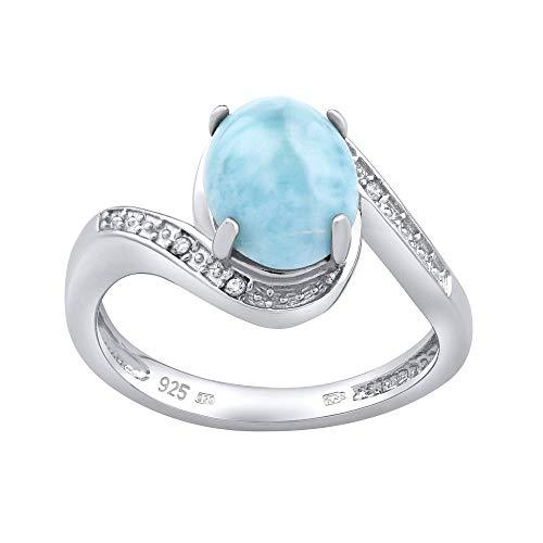 SILVEGO Damen Ring aus 925 Sterling Silber mit natürlichem Larimar