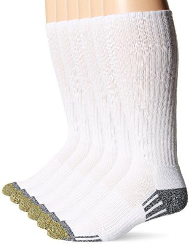 Gold Toe mens Outlast Crew Socks, 3-pack Socks, White, Shoe Size 6-13 US