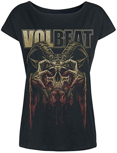 Volbeat Bleeding Crown Skull Frauen T-Shirt schwarz S 100% Baumwolle Band-Merch, Bands, Totenköpfe