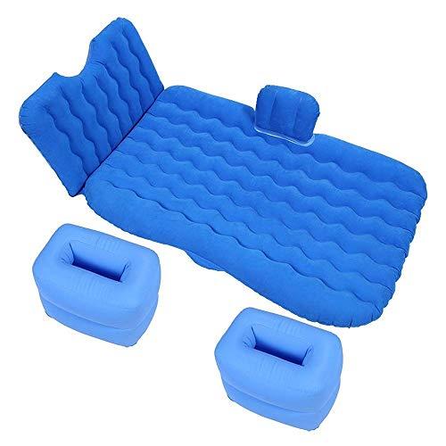 SMEJS Colchón inflable de aire para coche con bomba (portátil), para viajes, camping, vacaciones, asiento trasero, cojín para dormir, camión, SUV, tamaño doble, 135 cm x 90 cm x 50 cm (color: azul)