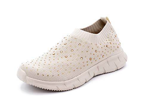 Zapatillas Deportivas para Mujer, Tipo Calcetín, Transpirables, con Brillantes (Beige, Numeric_38)