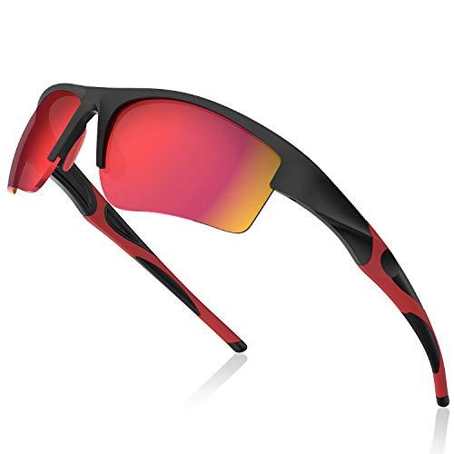 Avoalre Fahrradbrille Sportbrille Winddicht Fahrrad Sonnenbrille Anti UV400 fahradbrille Herren Sonnenbrille Brille Angeln mit Rahmen TR92 Super Light Skibrille Rot