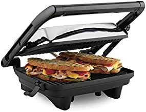 Hamilton Beach Electric Panini Press Grill with Locking Lid, Opens 180 Degrees for any Sandwich Thickness (25460A) Nonstick 8