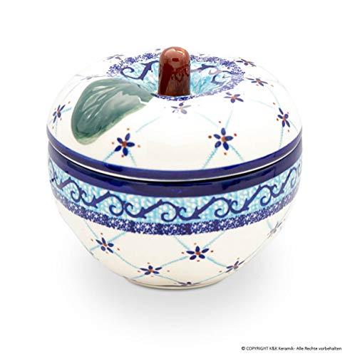 Bunzlauer Keramik Apfel-Bräter mit Deckel klein, 12,6x11,6 cm, Dekor DU28