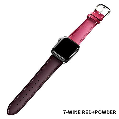 Bruin Lederen Band Loop Band Voor Apple Horloge 4 3 2 1 38mm 40mm, Mannen Lederen Horloge Band voor iwatch 5 44mm 42mm Armband, 42mm or 44mm, Wijn rood poeder
