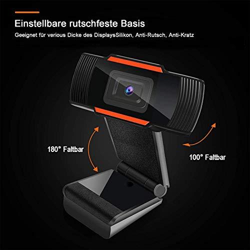 Kimiku Webcam 1080p Full HD mit Stereo-Mikrofon, Web-Kamera für Videochat und Aufnahme, kompatibel mit Windows, Mac und Android