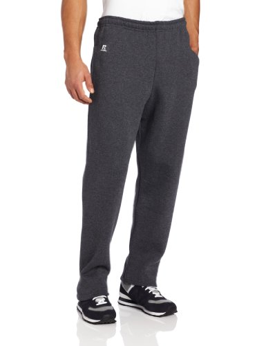 Russell Athletic Men's Dri-Power Open Bottom Sweatpants with Pockets, Black Heather, Large