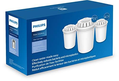 Philips Aqua Solutions Ersatz-Filterkartuschen, 3er-Set, AWP261 für Wasserfilter-Kannen AWP2950, AWP2970, gegen Bakterien, Schadstoffe, Mikro-Plastik