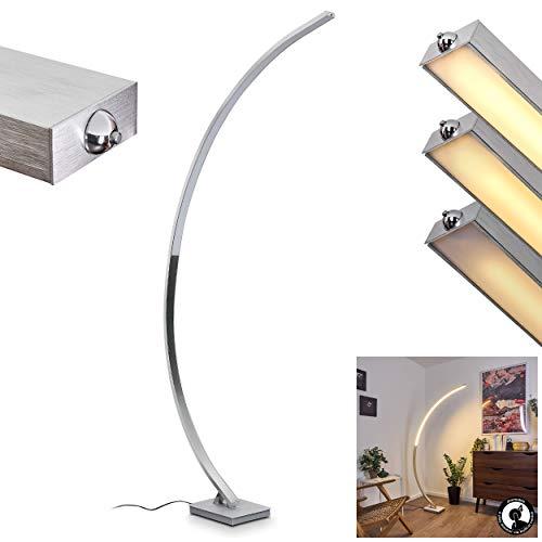 LED Stehleuchte Uttorp, dimmbare Bodenlampe aus Metall in Silber, 1 x LED 19 Watt, 2200 Lumen, Lichtfarbe 3000 Kelvin (warmweiß), moderne Stehlampe mit Tastdimmer