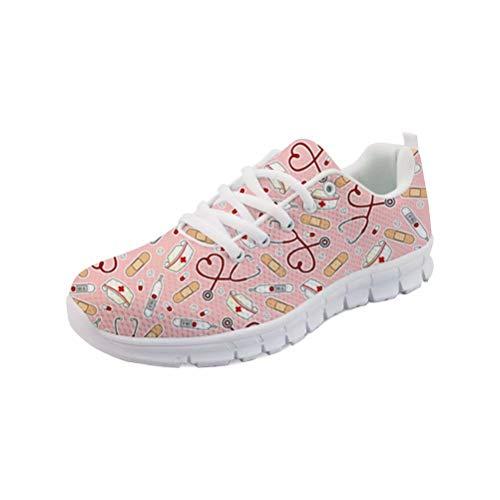 POLERO Sneaker Zapatillas de Deporte Nurse Bear Termometro para Dama Mujer con Cordones 36 Talla Europea