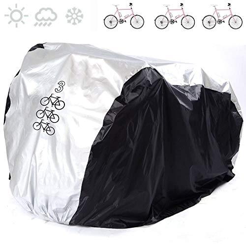 ANFTOP 200 * 105 * 110CM Copribici Bici Impermeabile Telo Protettivo Copertura per 3 Bicicletta Antipolvere Anti UV Copri Bicicletta Argento Nero