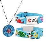 Cartoon Medical Alert id Bracelets +Neckalce Parents Gift to Son, Daughter, Brother, Sister for NUT ALLERGY