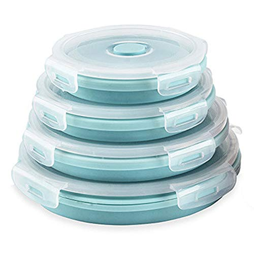 CARTINTS Silicone Collapsible Food Storage Containers-Prep/Storage Bowls with Lids – Set of 4 Round Silicone Lunch Containers – Microwave and Freezer Safe (Blue)