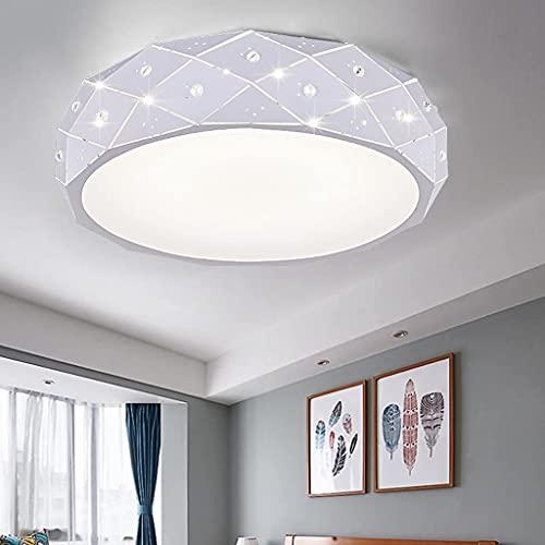 Lámpara de techo LED moderna de metal europeo LED acrílico dormitorio redondo lámpara de techo (color: blanco y blanco)