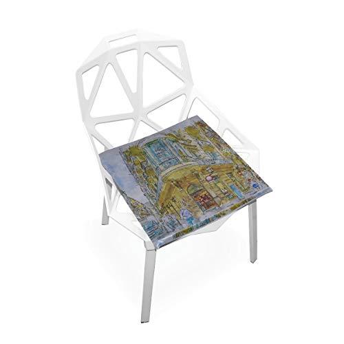 Cojín para silla de camping Calle Barcelona Barrio gótico España Arquitectura Almohadillas de silla de espuma de memoria antideslizante suave Cojines Asiento para hogar Cocina Escritorio de oficina Co
