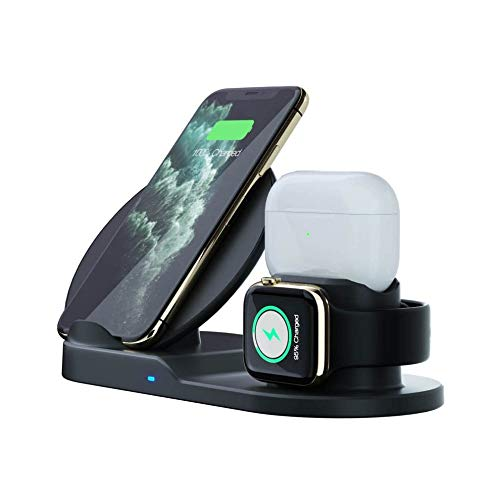 Wireless Charger, 3 in 1 Charging Station for Apple, Wireless Charging Stand Apple Watch Charger for Apple Watch and iPhone Airpod Compatible for iPhone X/XS/XR/Xs Max/8 Plus iWatch Airpods1 2