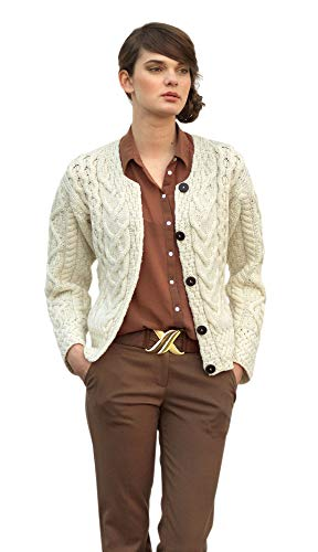 Large Cable Cardigan (Weiß, M)