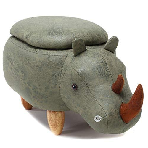 CHQYY Sillas- Animal otomana de almacenamiento resto del pie Taburete, Cojín acolchado del asiento Reposapiés Puf heces Resto con 4 patas de madera for niños o adultos, Rhino (Color : Verde)