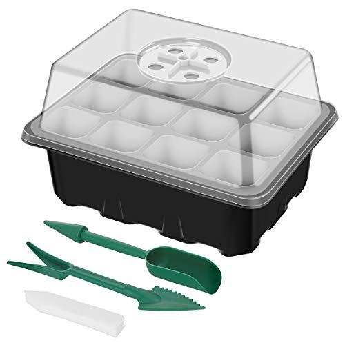 ANBET 3 Pack Ensemble de Plateau de multiplicateur de semences Kit de Plateau de démarrage de Plante avec dôme d'humidité réglable pour la Germination, Croissance en Serre (12 cellules par Plateau)