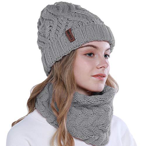 vamei 2 Pezzi Cappello Invernale da Donna Berretto Invernale Cappelli Donne Sciarpa e Berretti in Maglia Beanie Cappellini Berretto da Sci Berretto Unisex (Grigio Chiaro)