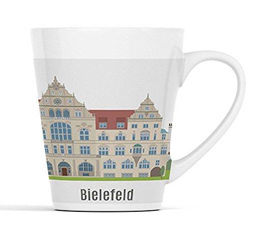 Bielefeld Nordrhein-Westfalen Stadt Silhouette |Latte Macchiato Becher Kaffeebecher mit Fotodruck |001