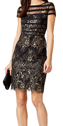 Alex Evenings Women's Cap Sleeve Metallic Lace Sheath Dress (Petite and Regular Sizes), Black/Gold, 14 (Apparel)