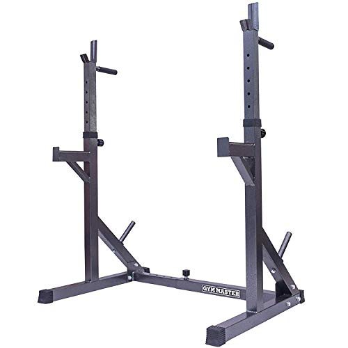 GYM MASTER Adjustable Squat Rack Stand with Spotters and Dip Bars (Gunmetal)