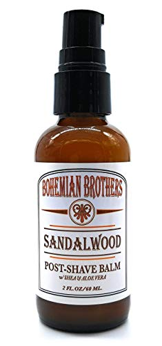 SALE - Moisturizing After Shave Balm with Aloe Vera and Shea Butter. Soothes Razor Burn and Irritation. Fast Absorbing, Non-Greasy Formula. Old School Sandalwood Scented Lotion for Men.