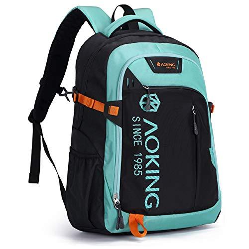 AOKING Schulrucksack wasserdicht Herren , 15,6 Zoll Rucksack , Rucksack laptop für Wandern Reisen Camping (Grün Turkis)