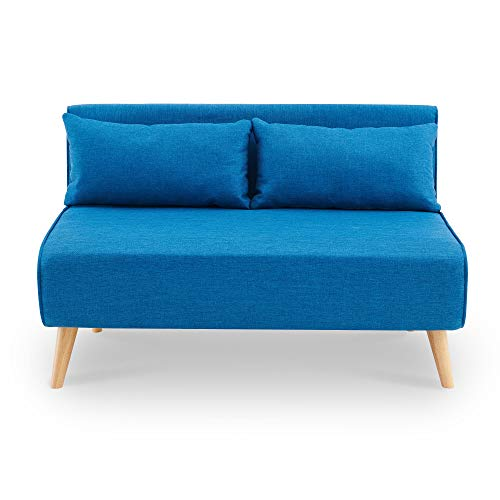 DecoInParis Banquette Convertible 2 Places en Tissu Tonka (Bleu)