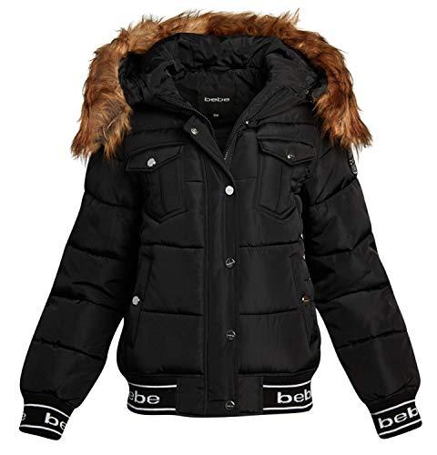 bebe Women's Short Nylon Puffer Bomber Jacket with Fur Trimmed Hood