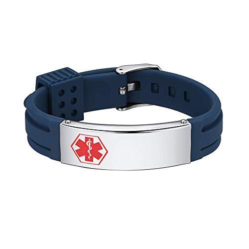 Supcare Cruz Roja Alerta Médica Pulsera ID con Placa de Identidad Acero Inoxidable y Tira Ajustable de Silicona Azul para Casos de Emergencia Personalización Gratis