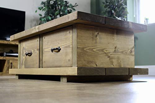 Solid Wood Rustic Handmade Pine Bucklers Hard Coffee Table, finished in Chunky Country Oak (Medium Oak)
