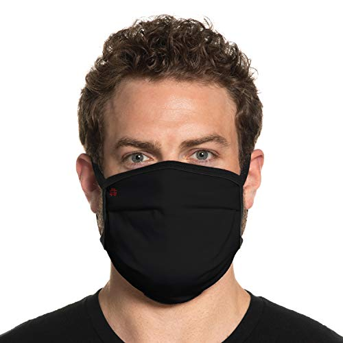 Secret Artist XLarge to 2XL Cloth Face Mask. Black Reversible Black Cloth Face Mask. Washable and Reusable- Face Mask for Germs, Dust and Pollen. Easy Wash-Dry. Proudly Made in USA!