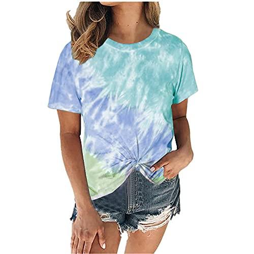 Elesoon Camiseta de verano para mujer con teñido degradado anudado color degradado bloque más tamaño de manga corta suelta camisa blusa, A-azul cielo, 48
