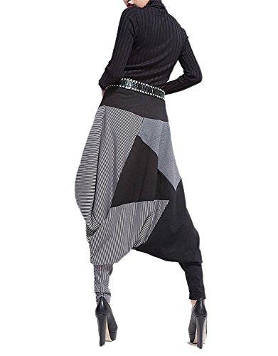 LATH.PIN Donna Casual Danza Jogging di Hip Hop Rigonfio Harem Tuta Pantaloni Sportivi (Stile 01)