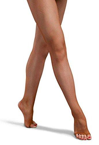 【Micopuella】 社交ダンス 用 つま先なし 網タイツ 2足セット オープントゥ ストレッチ タイツ (モカ)