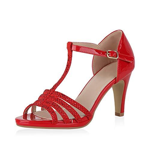 SCARPE VITA Damen Sandaletten Riemchensandaletten Stiletto Party Schuhe Elegante Abendschuhe Strass High Heels Absatzschuhe 190320 Rot 40