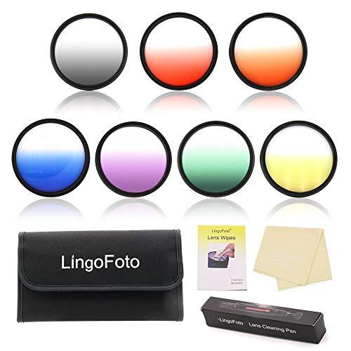 LingoFoto 55mm Graduated Color Filters Kit 7 Pieces Gradual Colour Lens Filter Kit Set Accessory for Canon for Nikon for Sony DSLR Camera + Lens Filter Pouch +Lens Cleaning Pen
