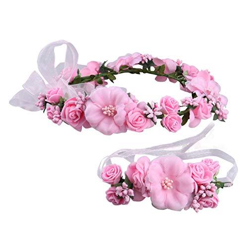 YSXY Frauen Mädchen Blumenkranz Blumenstirnband Blumenkrone Haarkranz Garland Halo mit Floral-Handgelenk-Band für Braut Fotografie Hochzeit, M, Pink