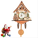 tytlclock Reloj Cuco Alarma Pared,Reloj Puntero Campana Madera para Colgar En La Pared,Agregar Número Sin Batería,para Interiores Herramientas Decoración Navidad Regalos,9 * 5 * 2 Pulgadas