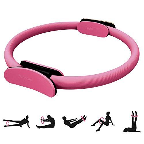 HebyTinco Círculos Profesionales de Yoga, Anillo de Pilates con asaentrenamiento para Resistencia y Flexibilidad, Anillo de Doble asa de Pilates, aro Yoga para Mujer (Rosado)