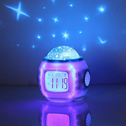Winnes Cielo Estrella Noche luz Lámpara del Proyector Dormitorio Sleep Digital Reloj Despertador con Luz de Fondo de Música Calendario Termómetro para Niños y Niñas