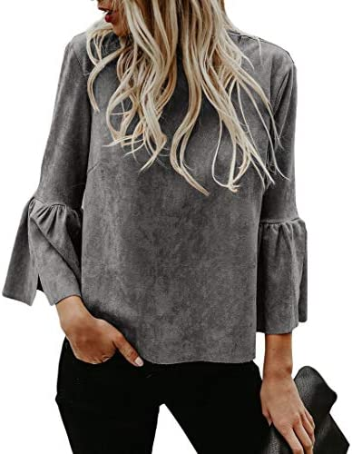 Bigyonger Womens Blouses Solid Flare Bell 3 4 Sleeves Casual Boho Shirt Tops Grey Small product image