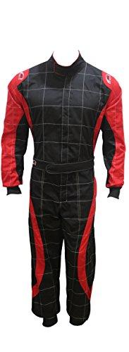 PM Sports Tuta da Kart per Bambini in Polycotton, per Karting Racing Rally Go Kart, Tuta Intera, Interni ed Esterni Sportivi (Black & Red, 170)