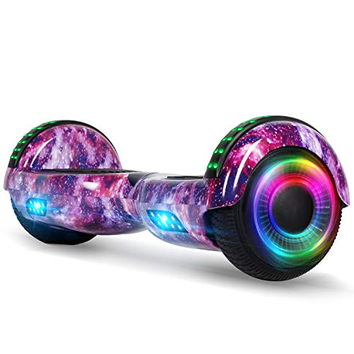 FLYING-ANT Hoverboard for Kids, 6.5 Inch Two Wheels Self Blancing Hoverboard with Bluetooth Speaker and LED Lights-Starry Purple