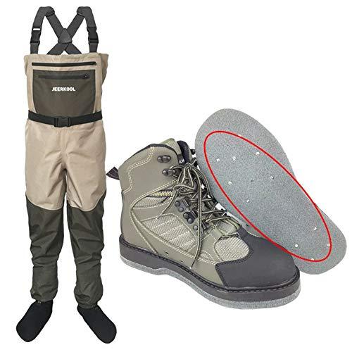 JINJIONG Chaussures de pêche à la Mouche Waders Pantalons Ensemble de vêtements Wading Waterproof Suit Waders Boot Waders antidérapants Boots Waders Trousers
