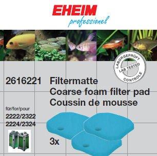 Eheim 2616221 Filtermatten (3 Stück) Filtermasse für Experience 150/250/250T (2422/24, 2124)